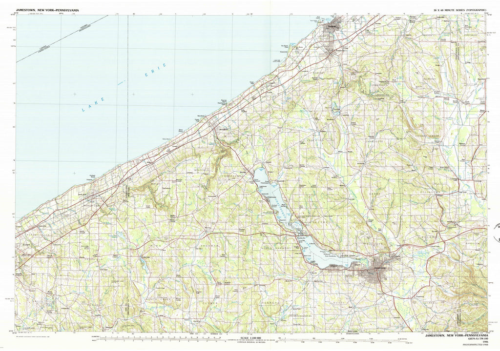 Chautauqua Lake, NY Map - 1986