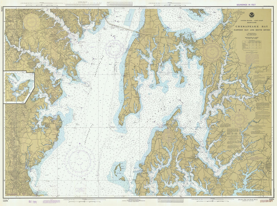 Chesapeake Bay Eastern Bay & South River Map - 1978