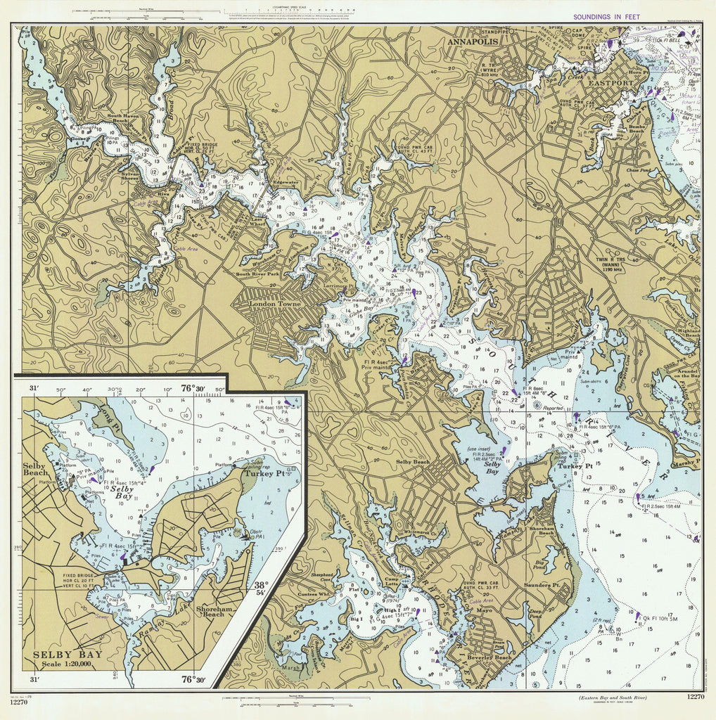 Chesapeake Bay - South River Historical Map - 1978