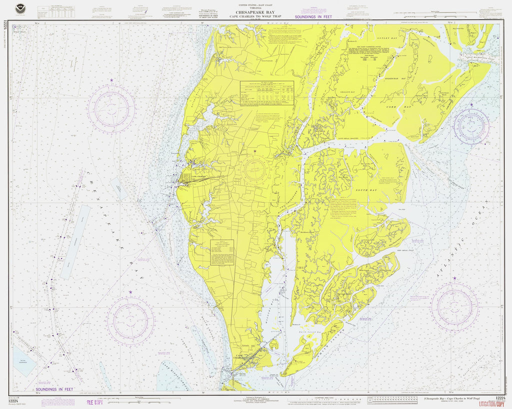Chesapeake Bay Map - Cape Charles to Wolf Trap 1976