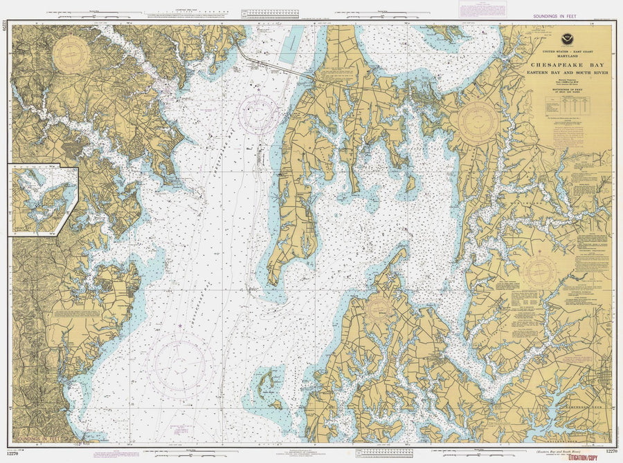 Chesapeake Bay - Eastern Bay & South River Map 1986