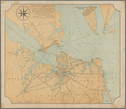 Chesapeake Bay - Norfolk Harbor Map