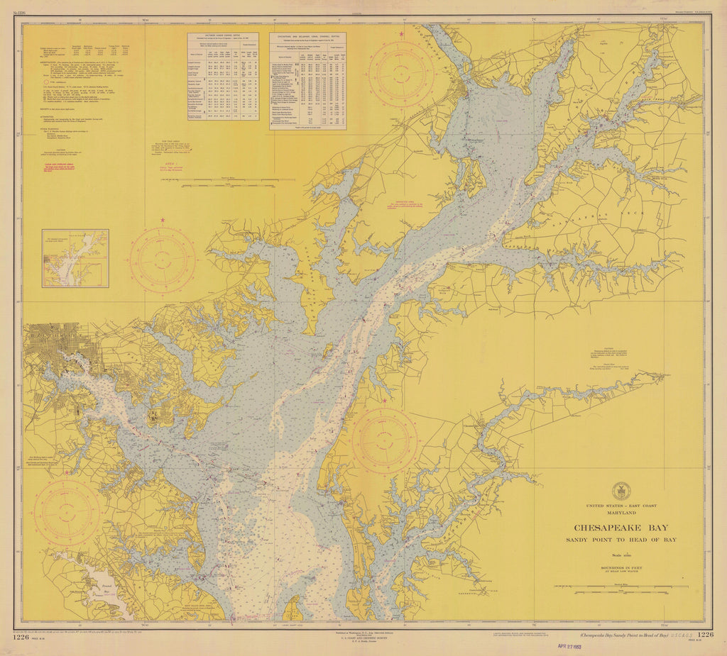 Chesapeake Bay Map - Sandy Pt. to Head of Bay - 1953
