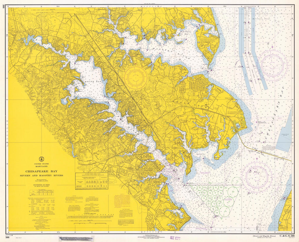 Chesapeake Bay - Severn & Magothy Rivers Map 1968