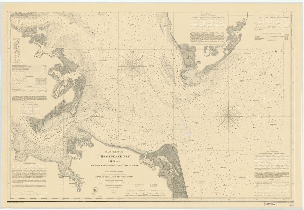 Chesapeake Bay Map - York River & Hampton Roads 1863
