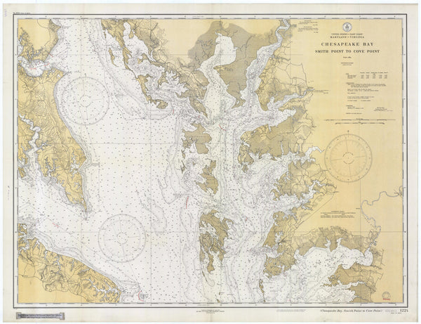 Chesapeake Bay - Smith Point to Cove Point Map - 1934