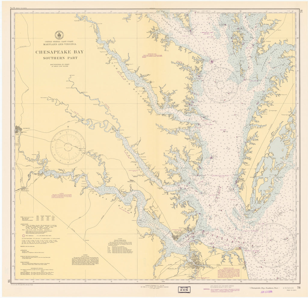 Chesapeake Bay (Southern Part) Historical Map - 1944
