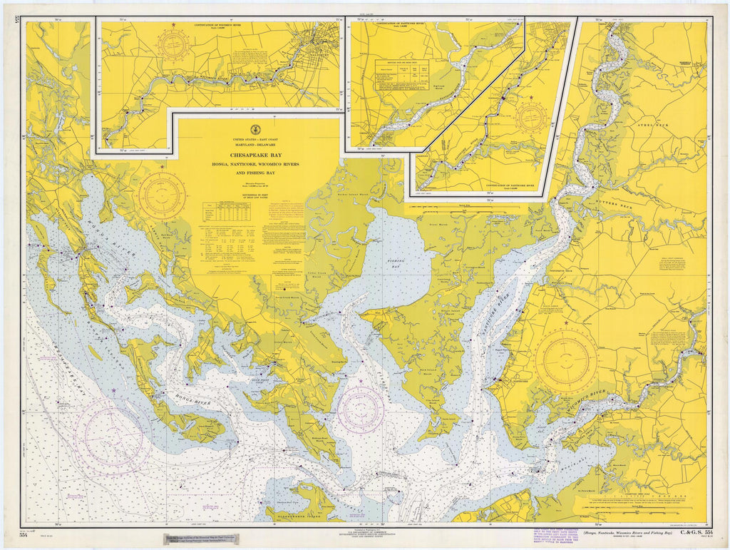 Chesapeake Bay Map - Honga, Nanticoke & Wilmico Rivers - 1967