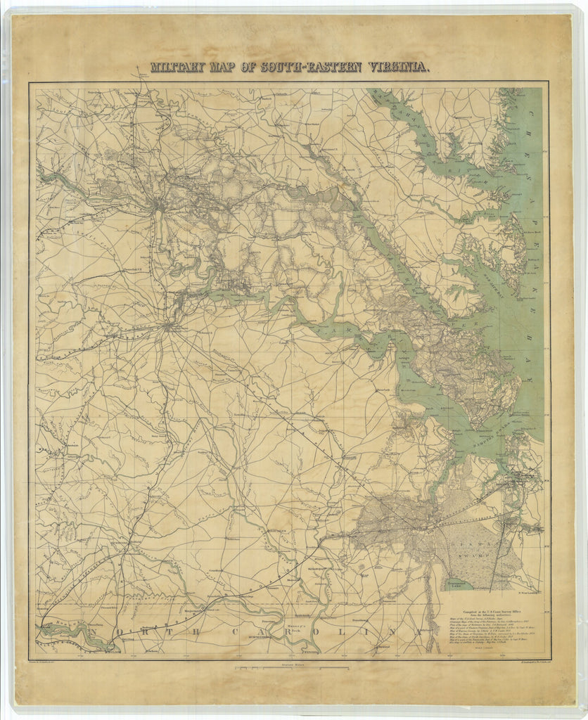 Chesapeake Bay Military Map - Hampton Roads & James River 1862