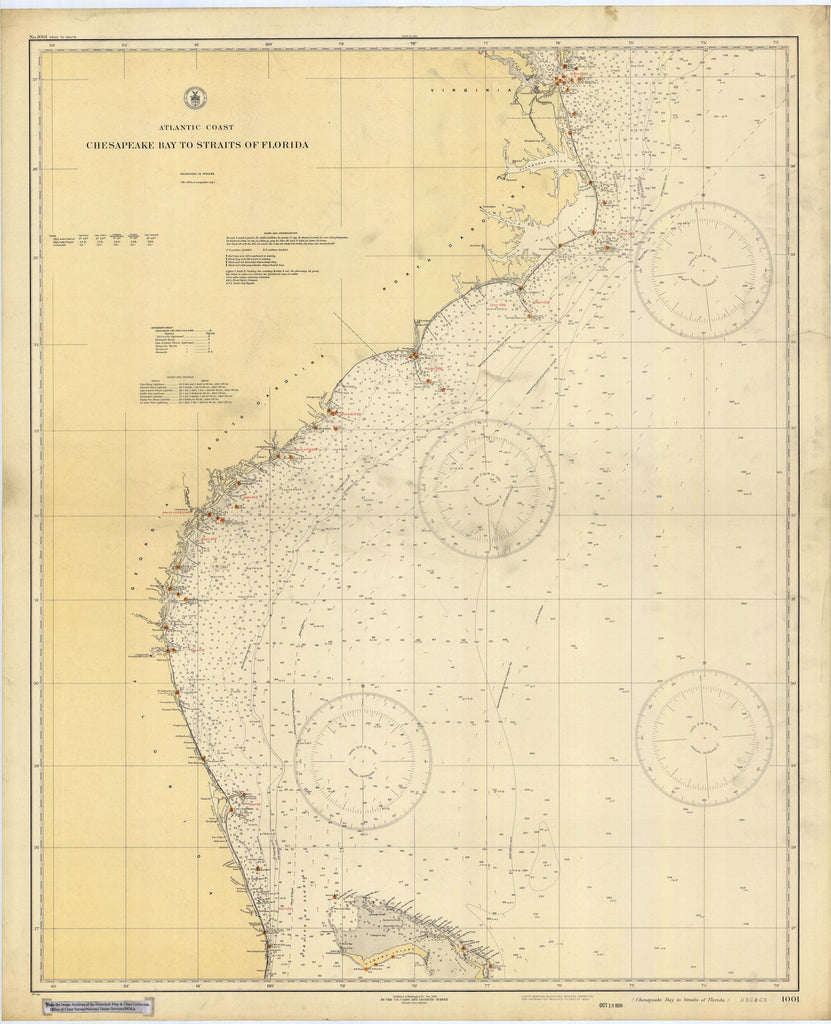 Atlantic Coast Florida Map.Chesapeake Bay To Straits Of Florida Map 1928