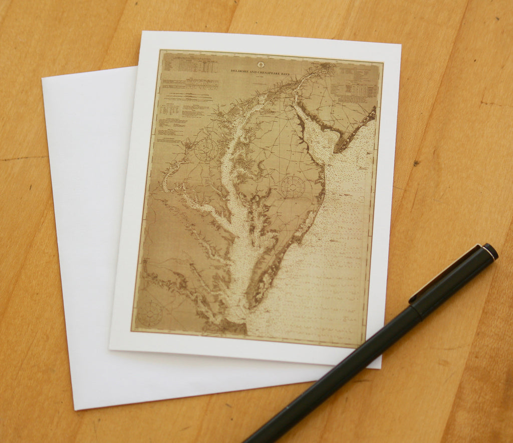 "Chesapeake Bay & Delaware Bay Map Note Cards (1912) 4.25""x5.5"""