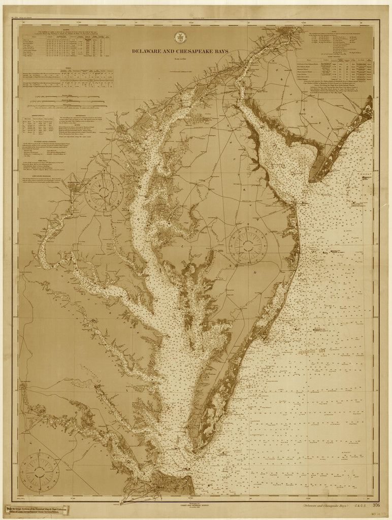 Chesapeake Bay and Delaware Bay Historical Map - 1912