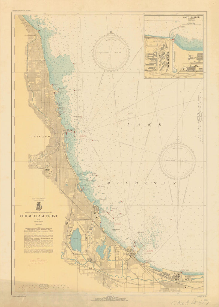 Lake Michigan - Chicago Lake Front - Historical Map - 1939