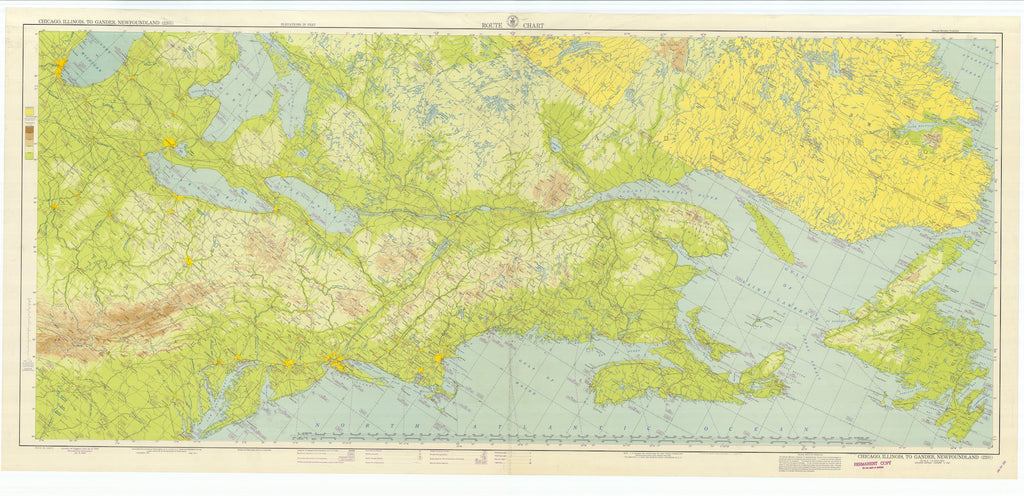 Chicago to Newfoundland Aeronautical Map - 1947