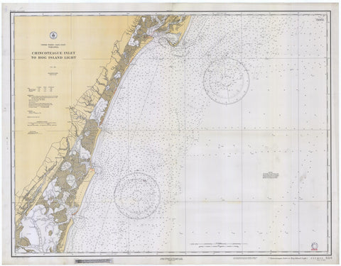Chincoteague Inlet to Hog Island Map 1933