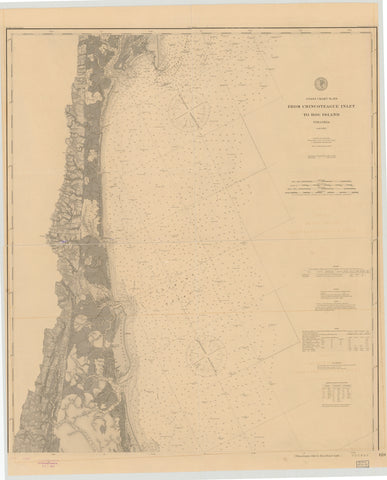 Chincoteague Inlet to Hog Island Map - 1895