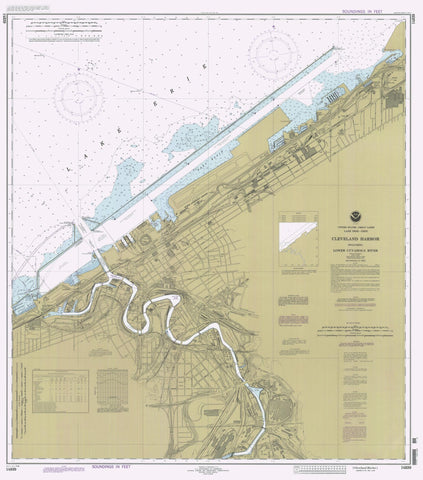 Cleveland Harbor and Lower Cayuga River Map - 1995