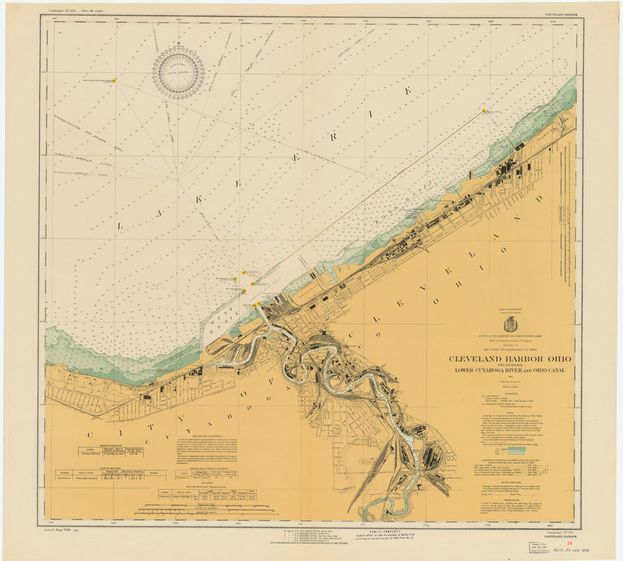 Cleveland Harbor and Lower Cayuga River Map - 1930
