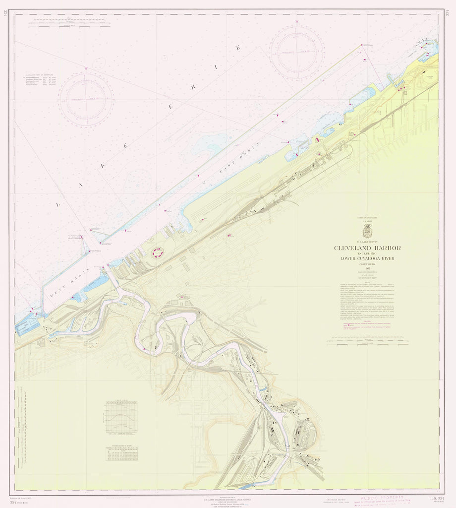 Cleveland Harbor and Lower Cayuga River Map - 1965