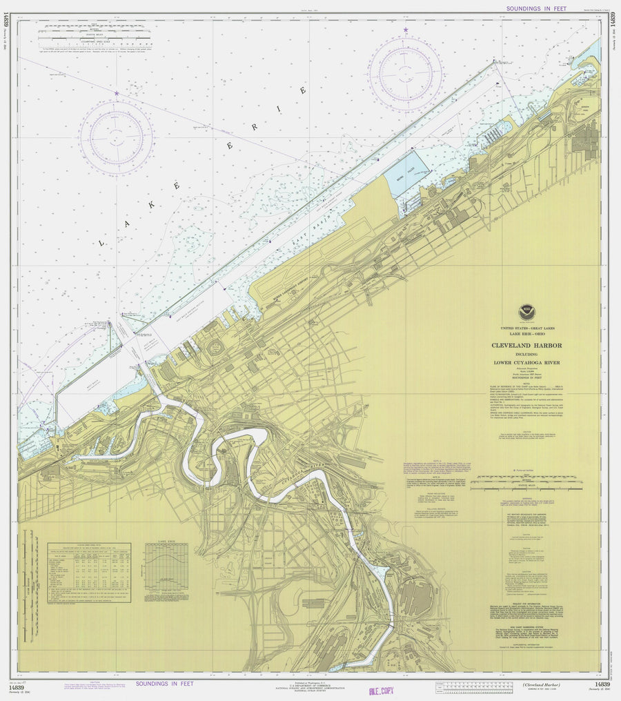 Cleveland Harbor and Lower Cayuga River Map - 1977