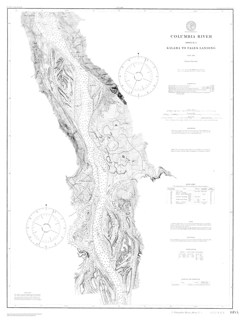 Columbia River Map - Kalama to Fales Landing 1999