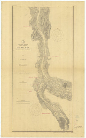 Columbia River Map - St. Helens to Willamette River -1909