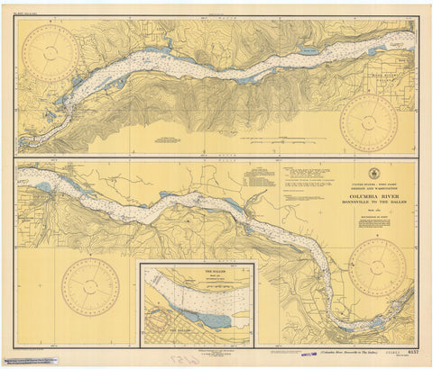Columbia River Map - Bonneville to the Dalles 1946