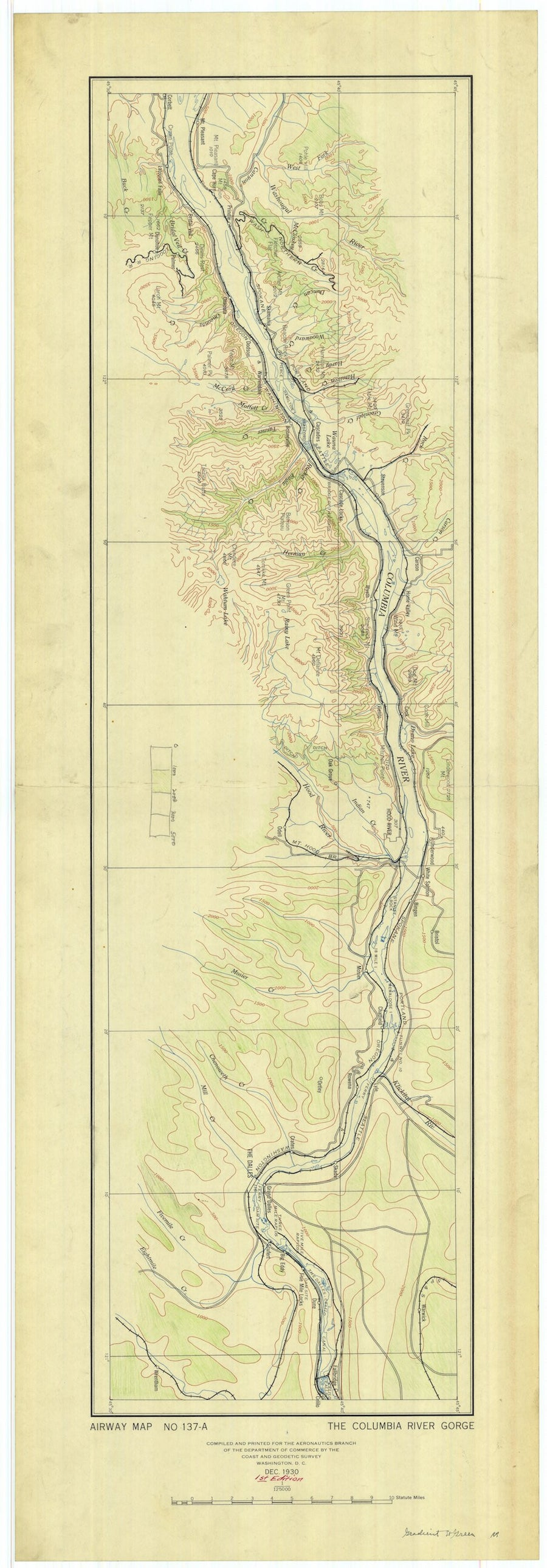 Columbia River Gorge Map - 1930