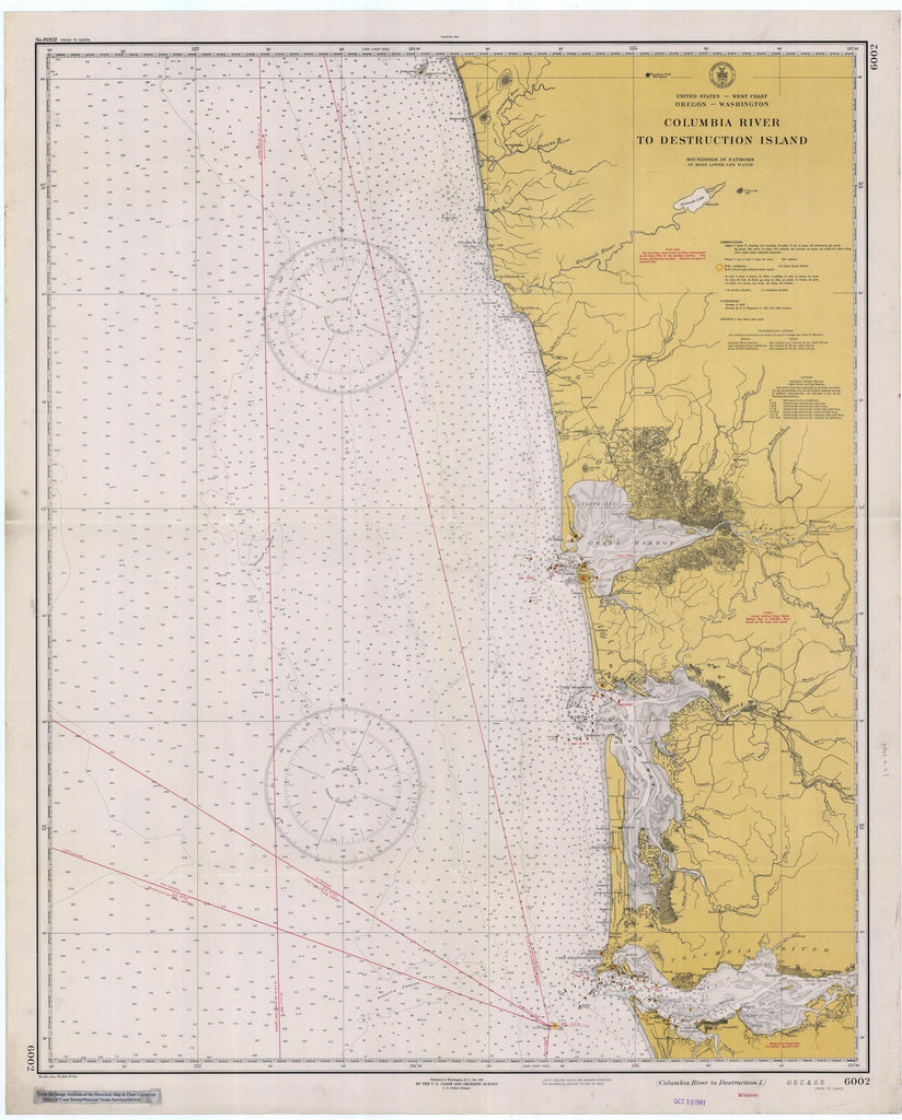 Columbia River to Destruction Island Map - 1941