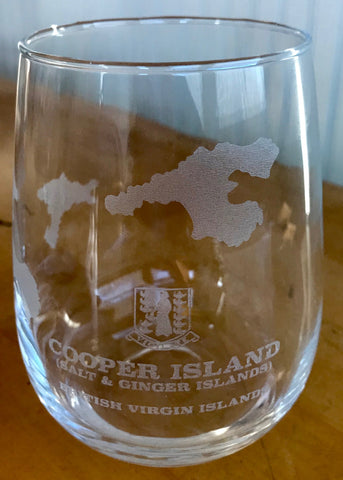 Cooper Island BVI Map - Engraved Rocks & Stemless Wine Glasses