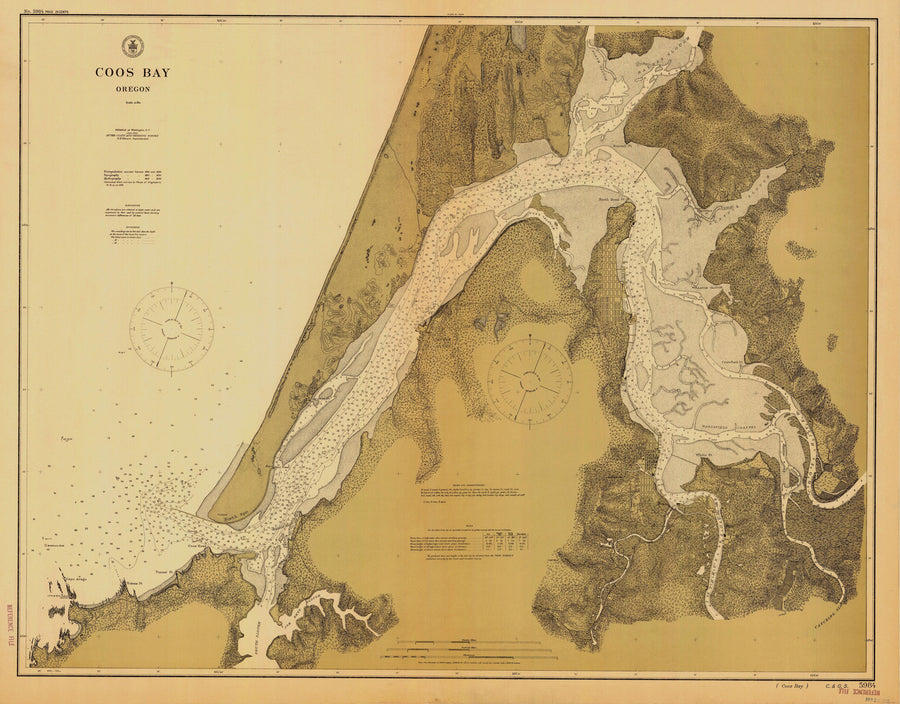 "Coos Bay Map Notecards (1912) 4.25""x5.5"""
