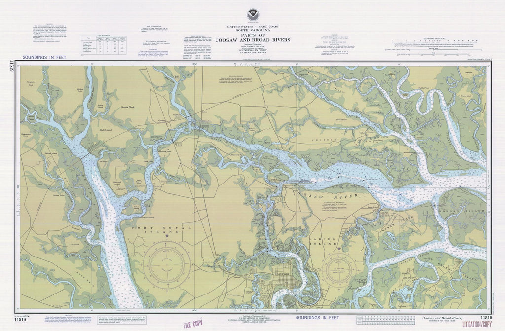 Coosaw and Broad Rivers Map - 1981