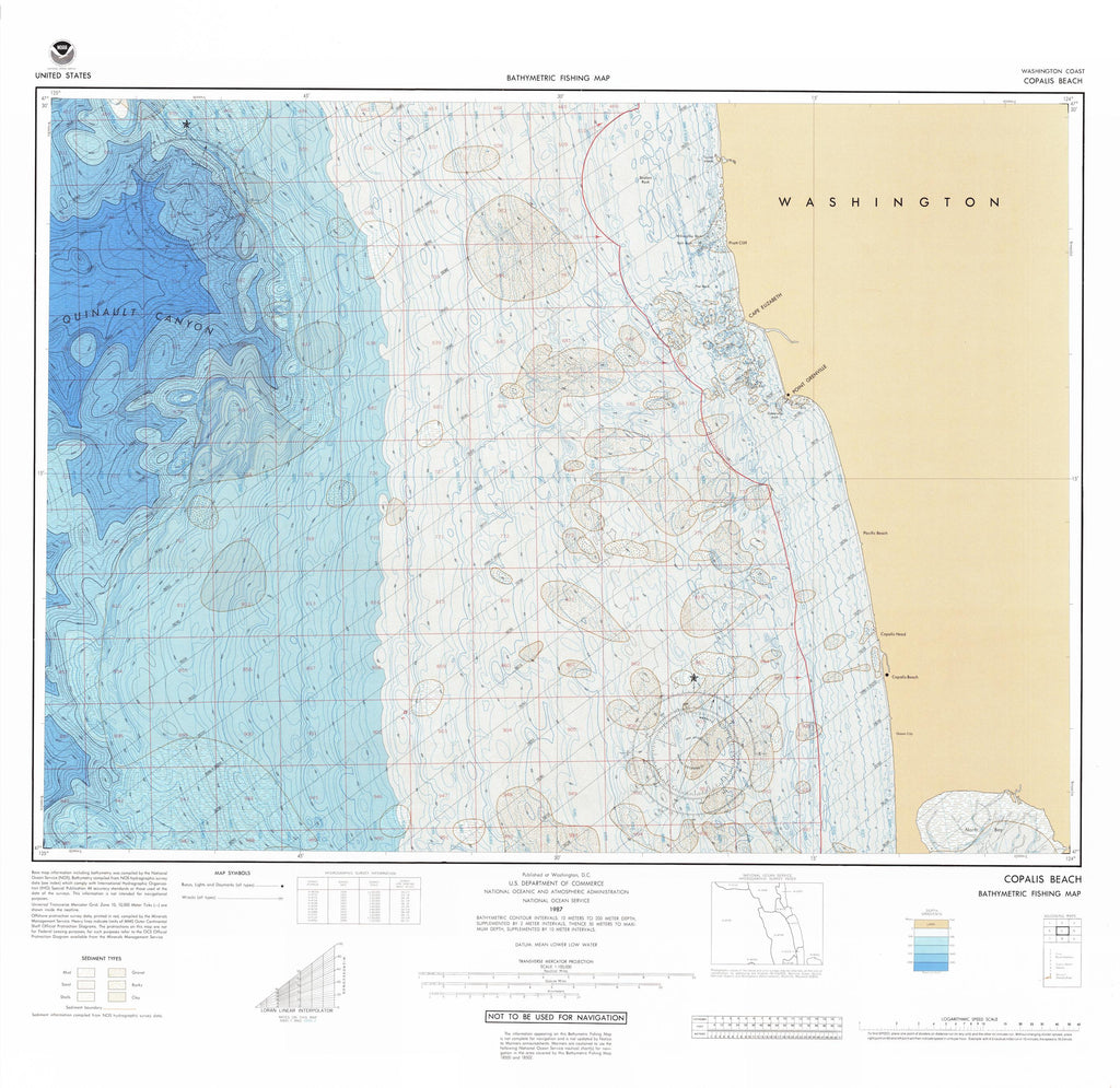 Copalis Beach Bathymetric Fishing Map - F55