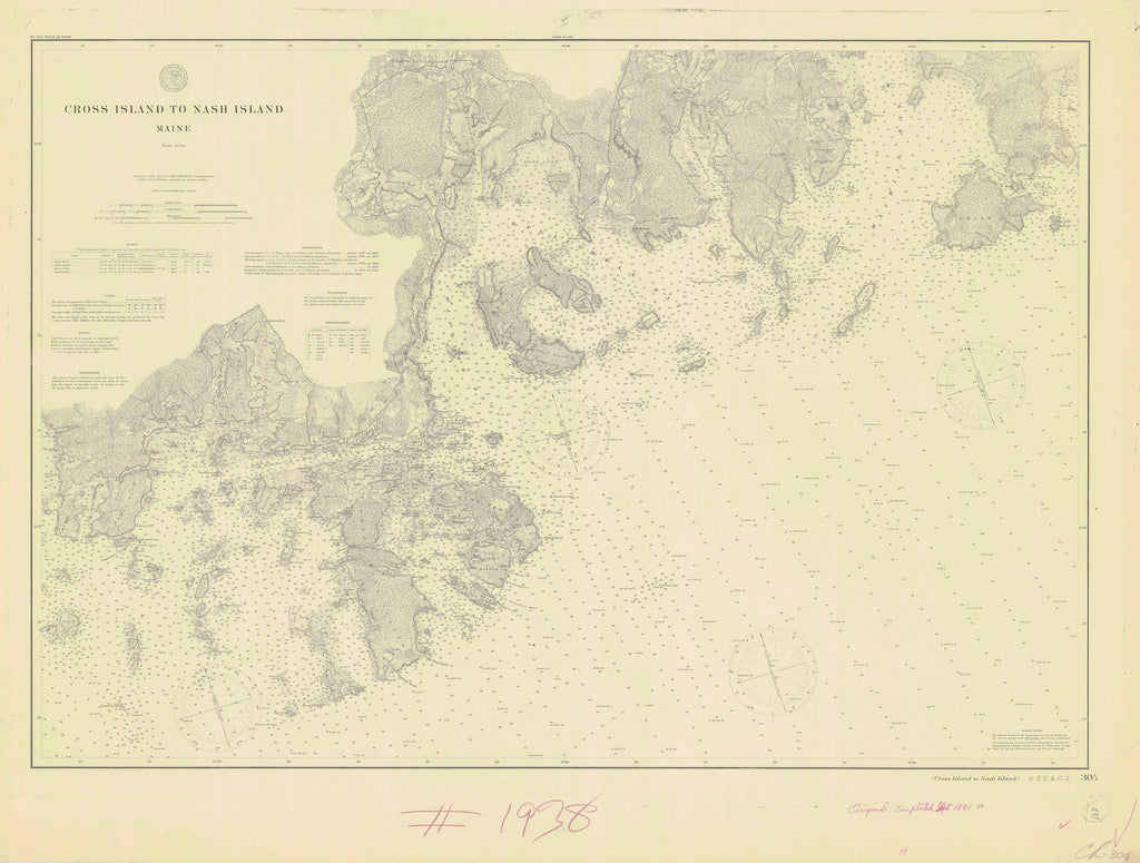 Cross Island to Nash Island - Maine Historical Map 1891