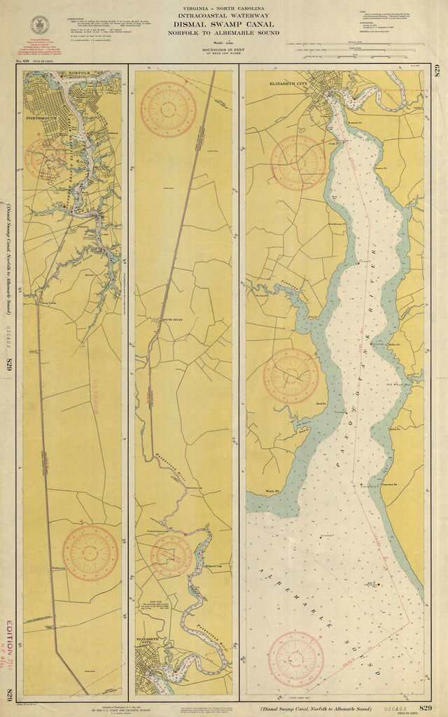 Dismal Swamp Canal - Intracoastal Waterway Map - 1940