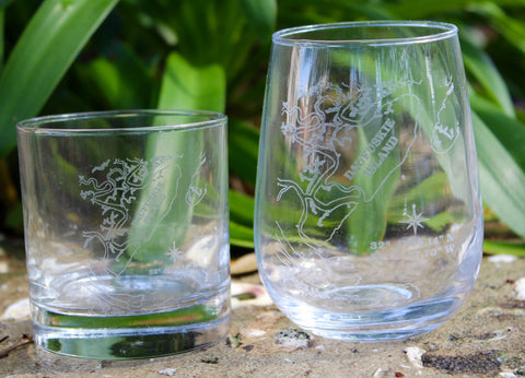 Daufuskie Island Map - Engraved Rocks, Stemless Wine & Pint Glasses