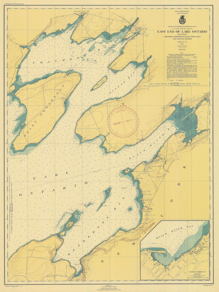 Lake Ontario - East End Historical Map - 1946
