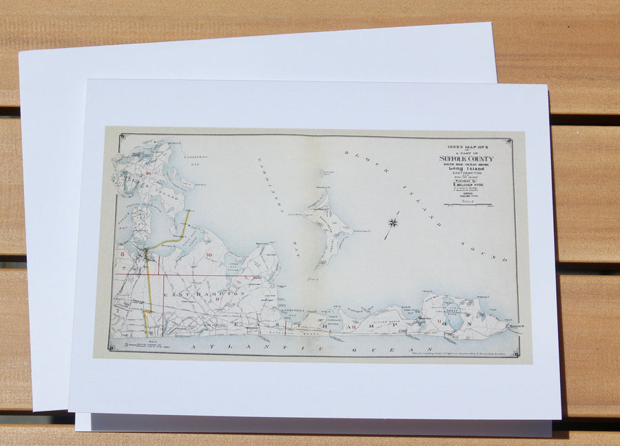 "East Hampton Map Notecards (1916) - 4.25""x5.5"""