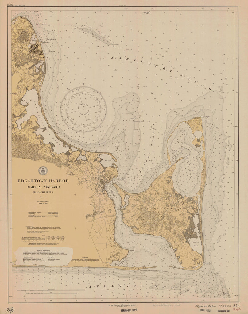 Edgartown Harbor - Martha's Vineyard Map - 1927