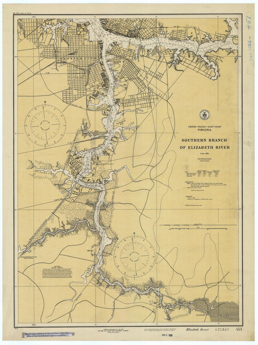 Elizabeth River Map- Southern Branch - 1926