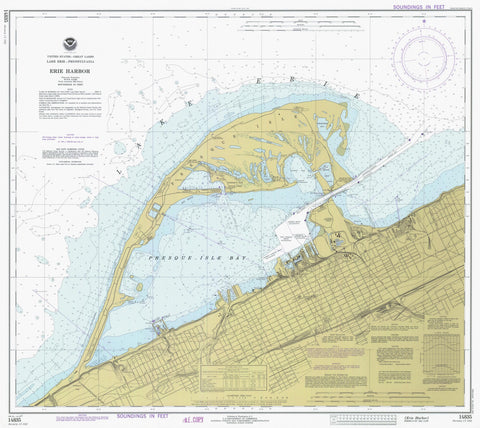 Erie Harbor and Presque Isle Map - 1977