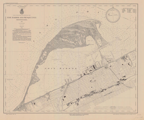 Erie Harbor and Presque Isle Map - 1934