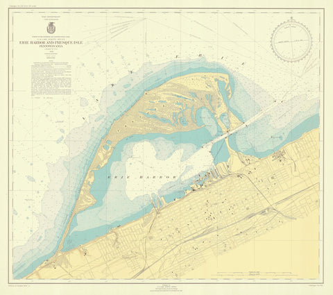 Erie Harbor and Presque Isle Map - 1946