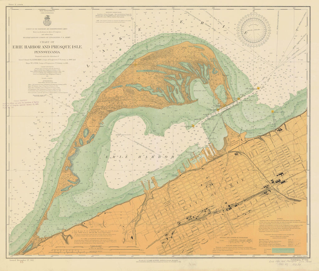 Erie Harbor and Presque Isle Map - 1912