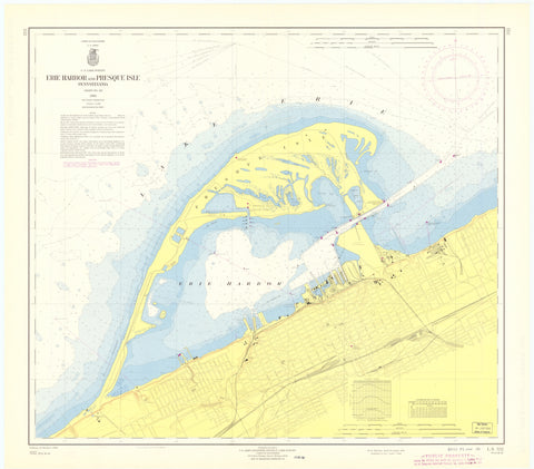 Erie Harbor and Presque Isle Map - 1965