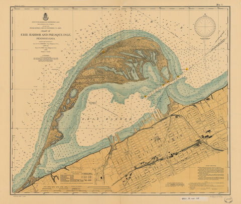 Erie Harbor and Presque Isle Map - 1901