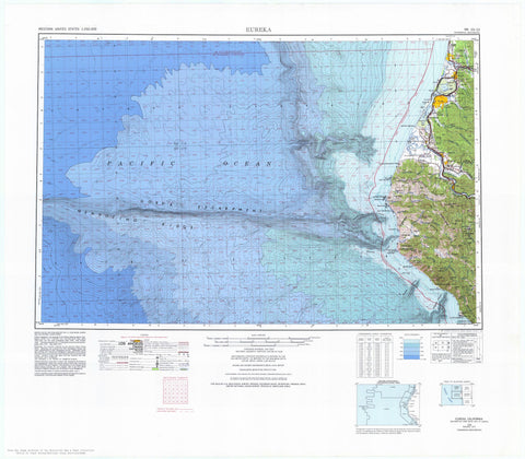 Eureka California Topographic - Bathymetric Map - 1977
