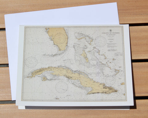 "Florida Keys & Cuba Map Notecards (1933) 4.25""x5.5"""