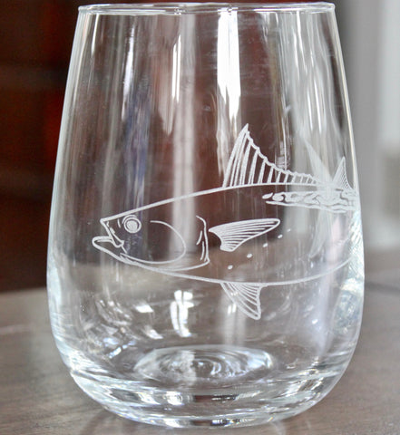 False Albacore - Engraved Rocks, Stemless Wine & Pint Glasses