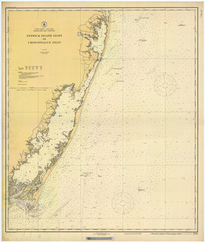 Fenwick Island Light to Chincoteague Inlet Historical Map - 1920